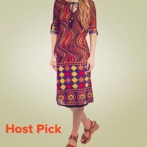 Dresses & Skirts - HP⭐️5/$25 ⭐️NEW Orange Geometric tie-front dress